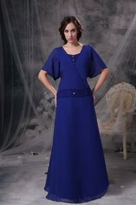 New York Popular Blue Long Formal Prom Dress for Women with Short Sleeves