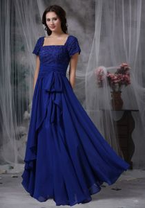 Square Neck Short Sleeves Royal Blue Chiffon Prom Dress with Beads and Sash