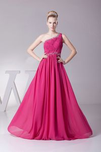 Fast Shipping Beaded Hot Pink Long Prom Dresses with One Shoulder