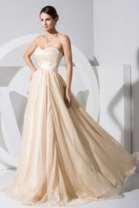 Champagne Long Formal Prom Gown Dress with Sweetheart Neckline