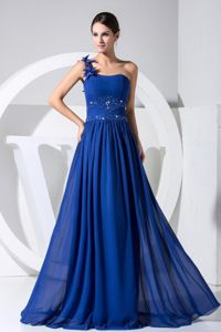 Affordable One Shoulder Blue Long Prom Dress with Beading and Flowers