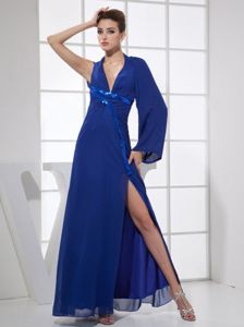 Special Style V-neck Slitted Blue Prom Dress for Slim Girls with Single Long Sleeve