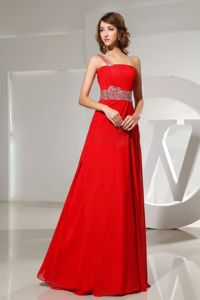 One Shoulder Red Long Formal Prom Dresses with Beads in Selden NY