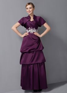 Sweetheart Tiered Appliqued Dark Purple Long Prom Outfits for Women