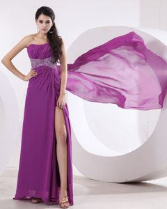 Beaded Slitted Purple Long Prom Dress with Watteau Train in New Mexico