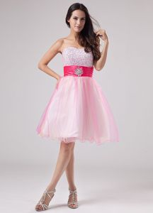 2013 Organza White Short Puffy Prom Dress with Beading on Big Discount
