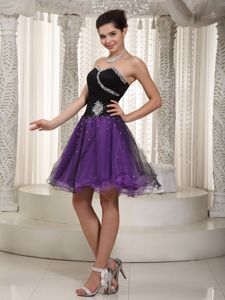 New Arrival Purple and Black Puffy Prom Dress with Beading on Promotion