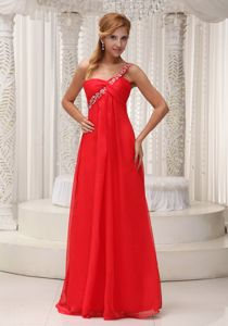 Fast Shipping One Shoulder Beaded Long Red Prom Dresses in Fashion