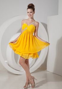 Lovely Mini-length One Shoulder Yellow Junior Prom Dress about 100 on Sale