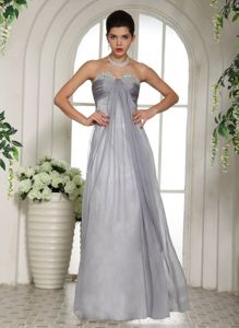low Price Side Zipper Beaded Gray Long Prom Attire in Wallkill USA