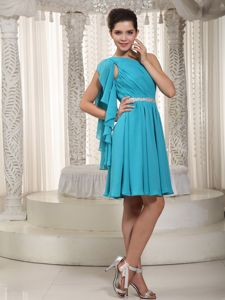 One Shoulder Empire Teal Beaded Short Prom Dresses in Chiffon