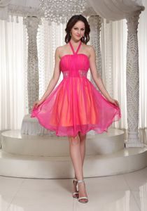 Girly Latest Halter Short Cocktail Prom Dress for Ladies in Hot Pink under 100