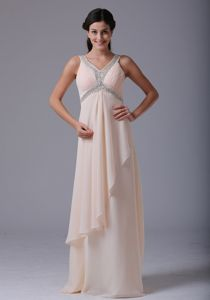 Baby Pink V-neck Prom Dresses with Beading and Ruches in Amarillo