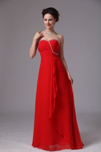 Sweetheart Beaded Ruched Chiffon Prom Dress in Red in Beaumont