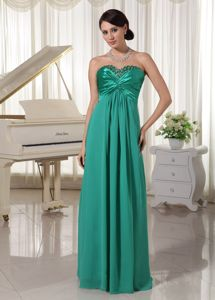 Turquoise Sweetheart Beaded Satin and Chiffon Prom Evening Dress