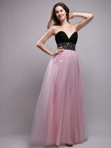Sweetheart Floor-length Beaded Prom Gown Dress in Baby Pink in Herndon