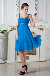 Teal Straps Knee-length Chiffon Ruched Prom Gown Dress in Arlington
