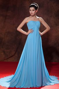Strapless Ruched Prom Gown in Aqua Blue with Court Train in Reading
