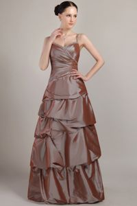 Brown Floor-length Sequined Prom Dress with Spaghetti Straps in Reading