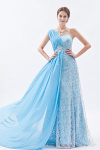 Baby Blue One Shoulder Lace Chiffon Prom Dress with Brush Train