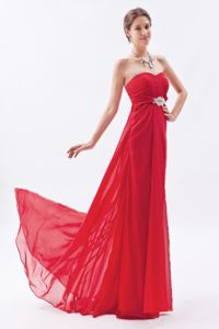 Wine Red Strapless Prom Dress in Chiffon with Beading Brush Train