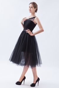 A-line One Shoulder Tea-length Tulle Prom Outfits in Black in Greenville