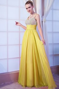 Yellow Straps Chiffon Beaded Prom Dress with Brush Train in Knoxville