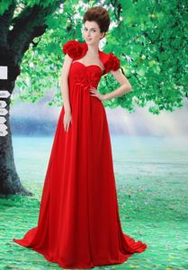 Red Court Train Sweetheart Hand Made Flower Prom Dress in Colorado