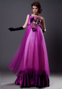 Fuchsia One Shoulder Column Prom Dress with Bowknot and Appliques
