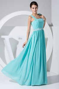 Aqua Blue Empire Floor Length Straps Chiffon Prom Dress with Beading