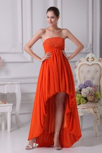 High-low Strapless Orange Red Beading and Ruches Seniors Prom Dress