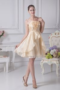 Champagne Rosettes Organza Knee-length Spaghetti Straps Prom Dress