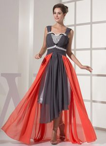 Multi-color Square Neck Watteau Train Asymmetrical Beaded Prom Dress