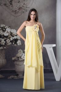 Spaghetti Straps Floral Embellishments Light Yellow Prom Dress for Cheap