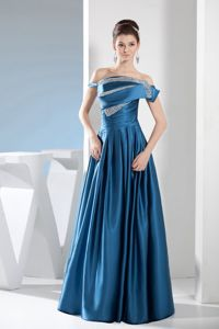 Teal Off-the-shoulder Floor-length Beading Decorate Womens Prom Dress