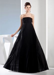 Pleats and Sequins Black Strapless A-line Full Length Prom Evening Dress