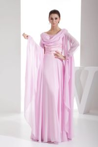 Cowl Neck Long Sleeves Chiffon Light Pink Beaded Prom Dress 2014