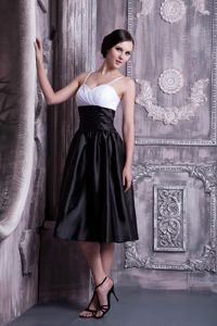 Spaghetti Straps White and Black Tea-length Semi-formal Prom Dress
