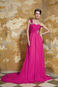 Watteau Train One Shoulder Hot Pink Beading Decorate Prom Dress