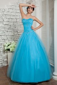 Floor Length Sweetheart Aqua Blue Beaded Homecoming Prom Dress