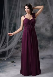 Spaghetti Straps Chiffon Floor Length Ruched Burgundy Prom Party Dress