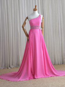 Luxury Brush Train Column/Sheath Evening Dress Rose Pink One Shoulder Chiffon Sleeveless Lace Up