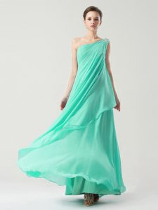 Artistic One Shoulder Sleeveless Ankle Length Beading and Ruching Side Zipper Dress for Prom with Turquoise