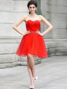 Coral Red Sleeveless Chiffon Zipper for Prom and Party