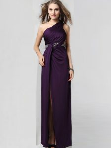 Custom Made One Shoulder Sleeveless Criss Cross Prom Dress Purple Elastic Woven Satin