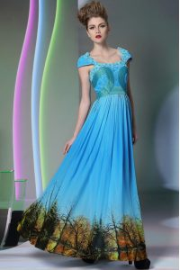 Printed Baby Blue Homecoming Dress Prom and Party with Appliques and Pattern Square Sleeveless Zipper