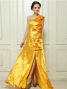 Artistic Gold Prom Party Dress Prom and Party with Ruffles One Shoulder Sleeveless Brush Train Zipper