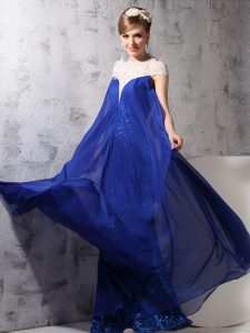 Simple High-neck Sleeveless Homecoming Dress Floor Length Lace and Sequins Royal Blue Chiffon and Sequined