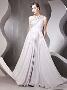 Cute Silver Side Zipper One Shoulder Beading Homecoming Dress Chiffon Sleeveless