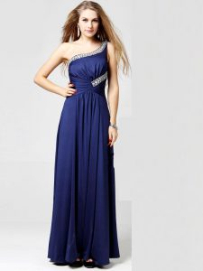 Nice One Shoulder Sleeveless Side Zipper Prom Dress Blue Silk Like Satin